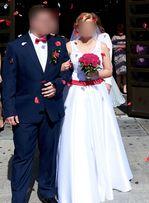 Suknia ślubna rozm.38-40 na 165cm+7cm obcas, Biała stan idealny