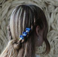 Синие мелкие цветы в волосы. Свадебная Шпилька. Невесте для прически.