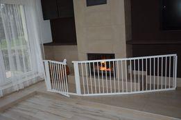 Barierka drewniana bramka do KOMINKA schodów 364 cm nowa biała