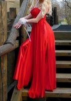 Вечернее выпускное нарядное красное платье в пол