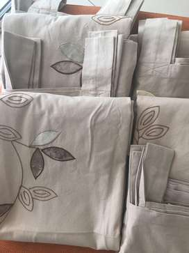 Embroided Beige Eyelet Curtains