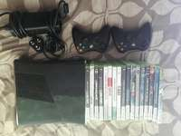 Xbox 360 with 2 controllers and 17 games 0