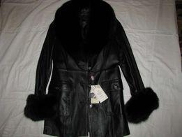 Женская новая кожаная утепленная куртка р.46-48
