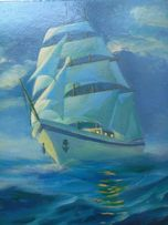 Картина маслом море парус лодка Хороший подарок 20 х 30