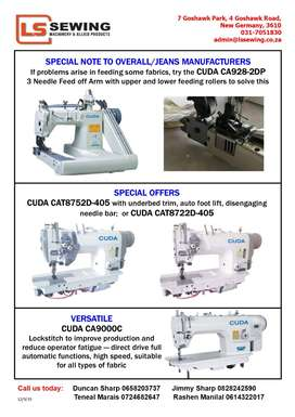 Work wear and Jeans Sewing Machinery - CUDA. PPE Machine Suppliers