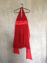 Sukienka czerwona, zapinana na szyi,S.