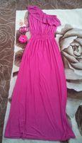 Платье макси с открытым плечом