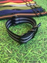 Ремешок для часов Zulu nato strap 18,20,22 мм, чёрная фурнитура.