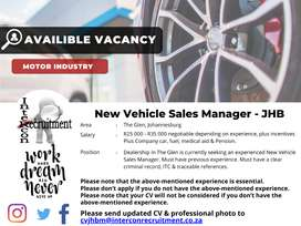 New Vehicle Sales Manager - JHB