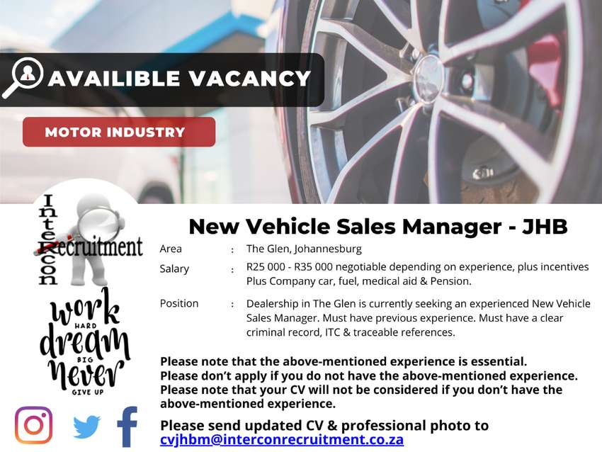 New Vehicle Sales Manager - JHB 0