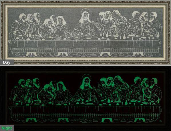 Картина вышитая крестиком люминесцентными нитками