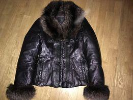 Пуховик кожаный итальянский - куртка, р S