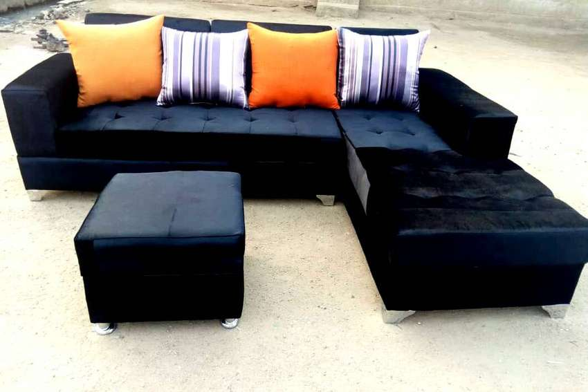 Set of L-shaped sofas and ottoman. Quality, Beautiful Home furniture 0