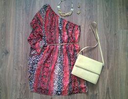 Шифоновое платье на одно плечо sequin hearts