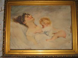 """Репродукция """"Женщина с ребенком"""" Германия. Автор Альфред Шварц"""