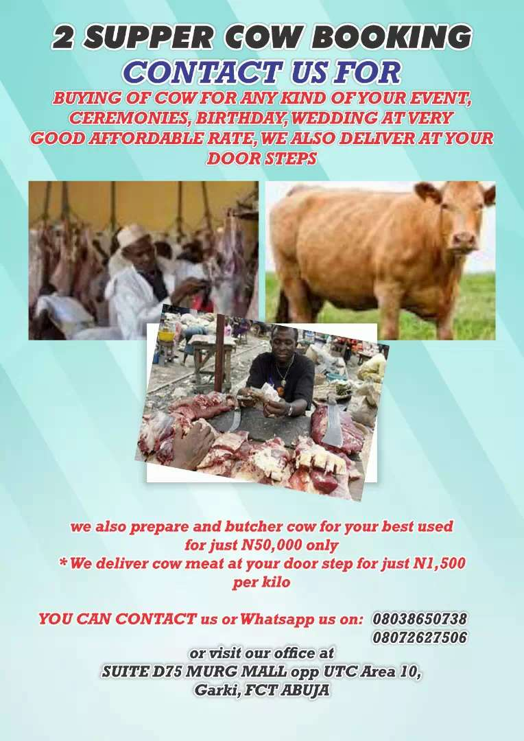 2 supper cow booking and butcher of cow meet for event use 0
