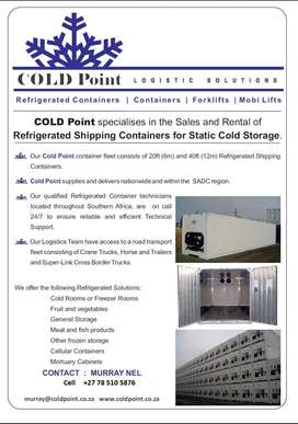 Refrigerated Containers *Reefers* 12m and 6m for rent or for sale.
