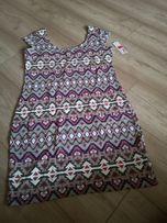 Tunika sukienka bluzka bez rękawów nowa40 wzory azteckie plecy wyciete