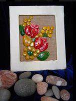 Картина из морских камушков-голышей