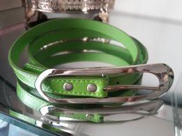 Pasek zielony letni kolor. Z ozdobną klamrą. Nowy. 95 cm