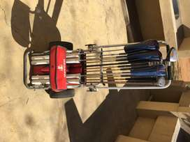 Golf trolley and clubs for sale
