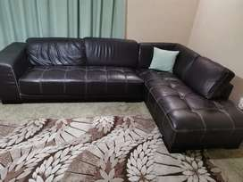 Leather L shape 2 piece couch
