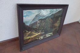 """Clausen Dahl-""""Pejzaż Alpejski"""",obraz, reprodukcja, drewniana rama"""