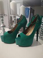 Buty, sandały na platformie, zielone, r. 40