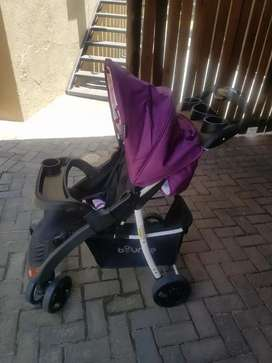 Baby pram with car seat.