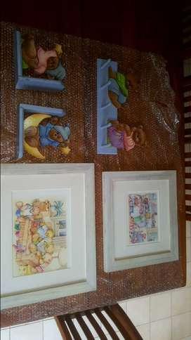 Kiddies / Baby Bedroom Framed Teddy Pictures A (Sale Item)nd More