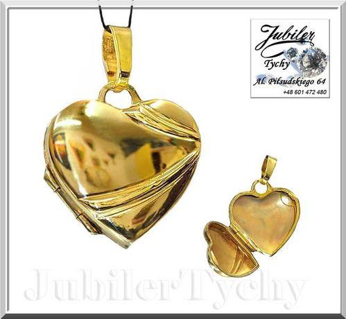 Złoty wisiorek otwierane serduszko Sekretnik z miejscem na dwa zdjęcia Tychy - image 1