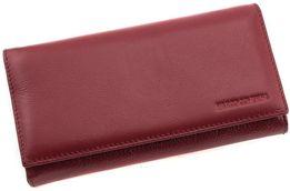 Женский кожаный кошелек бордового цвета на магните Marco Coverna