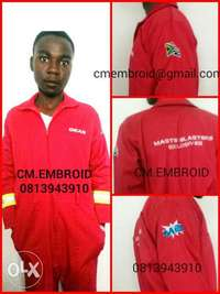 Image of boiler suits and embroidery services