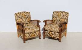 2 Mid Century Imbuia Ball and Claw Armchairs