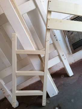Solid, rustic white washed wooden bunk beds