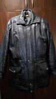 Зимняя мужская кожаная куртка длинная
