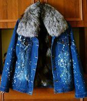 Джинсовая куртка. Зимняя курточка. Куртка с мехом.