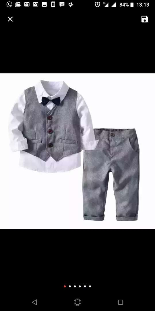 Baby boy's complete corporate outfit with tie and waistcoat 0