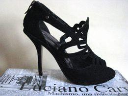 Элегантные нарядные черные замшевые туфли на каблуке L.Carvari, новые