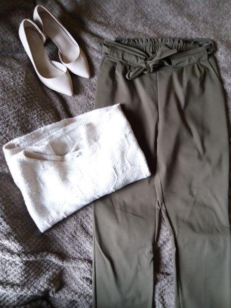 spodnie o'la voga khaki zielone wysoki stan Przybyszewo - image 1