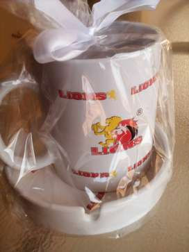 Lions Rugby Coffee Mug + Ceramic Ashtray Set Brand New Products.