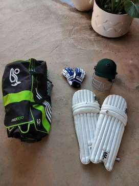 Cricket bag with cricket accesories