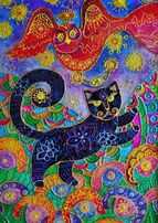 Принт картины Печать Черная кошка Сова Рисунок кота Витражная картина