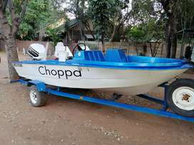 Fishing Boat with 85HP Johnson V4, trailor & boat cover