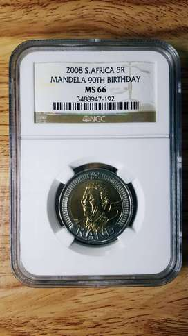 NELSON MANDELA 90th BIRTHDAY R5 COINS 2008 GRADED MS66 by NGC (USA)