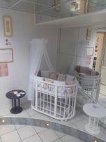 Круглая/овальная детская кроватка-трансформер+маятник аналог Stokke