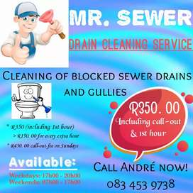 Sewer drain unblocking/cleaning service