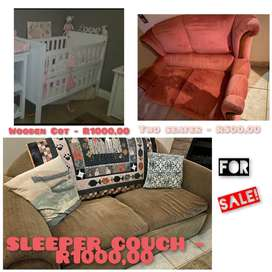 Wooden Baby Cot, Sleeper Couch & two seater for Sale