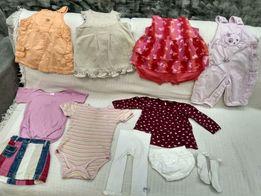 Пакет одежды на девочку до года. Комбинезон, боди, платья, кофта,