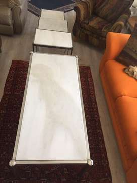 Marble coffee table 1400mmx640mm and 3 side tables